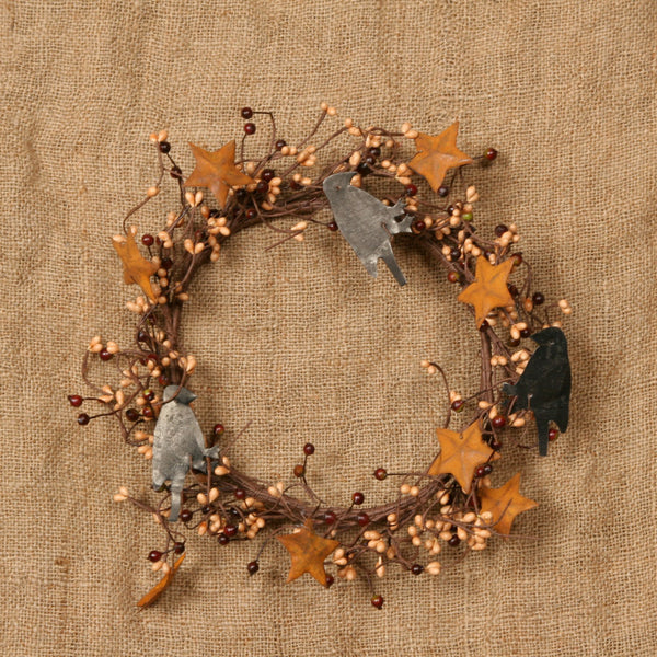 Wreath - BU & CR Berries w/ Crows & Rusty Stars