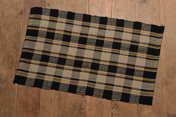 Country Cottage Tan Black & Mustard Rug
