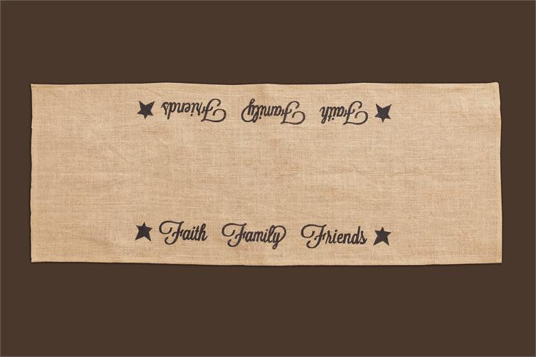 Table Runner - Burlap, Faith, Family, Friends Burlap