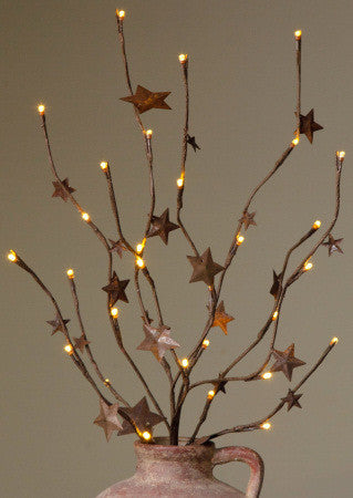 Branch Lights - Brown with Rusty Stars,