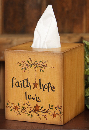 Tissue Box Cover - Faith, Hope, Love
