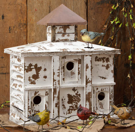 Birdhouse - Large, 3 Holes, Wood & Tin