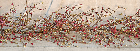 Burgundy & Gold Holiday Stars Pip Garland