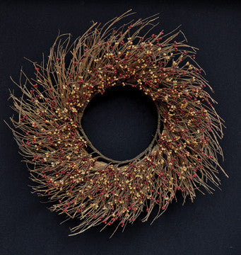 Burgundy/Gold Pip Twig Wreath, 22""