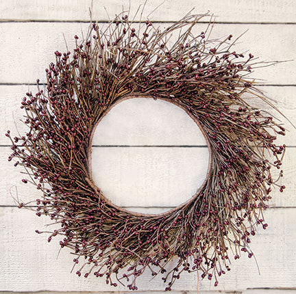 Burgundy Pip Twig Wreath, 22""