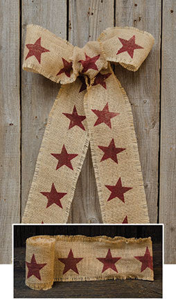 Burgundy Star Burlap Ribbon