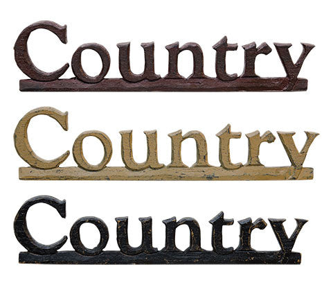 Country Resin Sign - Asst (3 Colors)