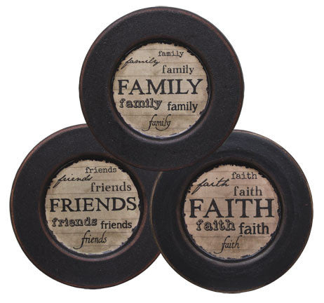 "Distressed Faith Family Friends Plate 5-3/4"" - Assorted"