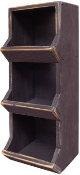 Vertical Wood Bin - Black - 18""