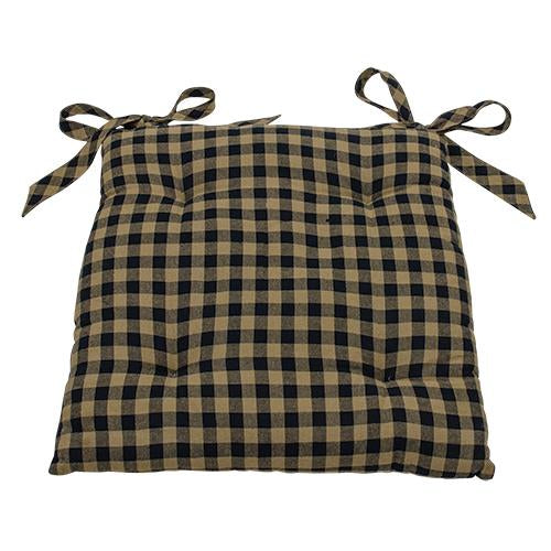 Black Check Chair Pad, 15""