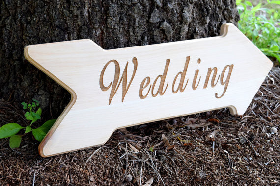 Wedding Sign - Laser Engraved Wedding Sign - Rustic Wedding - Wooden Arrow Sign