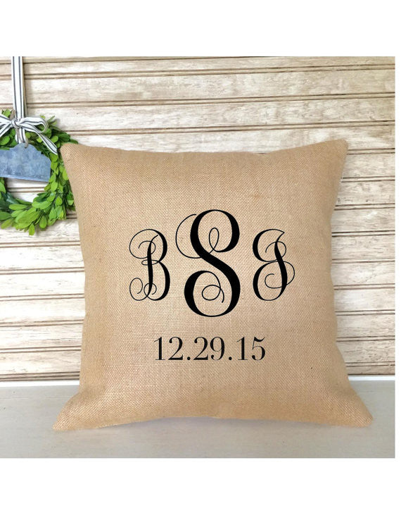 Monogrammed Wedding Anniversary Burlap Pillow - with Established Date - Pillow - Insert Included
