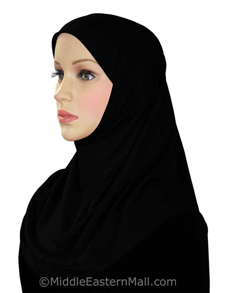 Two Piece Cotton Amira Hijab # 2 Black Classic Length