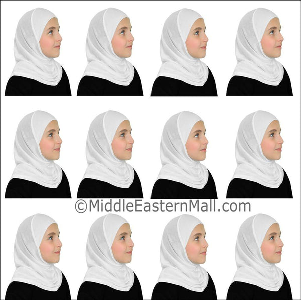 Wholesale 1 Dozen Khatib  Cotton Girl's 1 piece Hijabs Standard All white