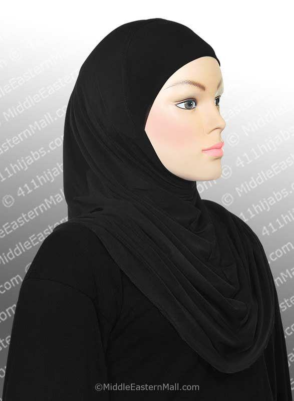 One Piece Black  High Quality Lycra Amira Hijab - MiddleEasternMall