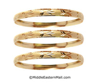 Bangle Bracelets Set of 3 Oro Laminado Gold Plated one year warranty #11 (7220)