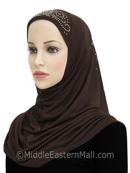 Lycra Amira 1 piece Hijab with Stones #10 Fire Flowers in BROWN