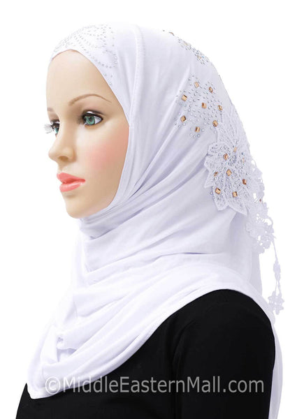 White Amour Al-Amira Hijab Headscarf Available