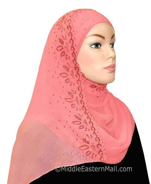 Hijab 2-in-1 Shawl with Sequins Available in 7 Colors