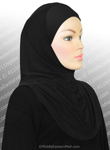 Black Lycra High quality Amira Hijab 2 piece #2 - MiddleEasternMall