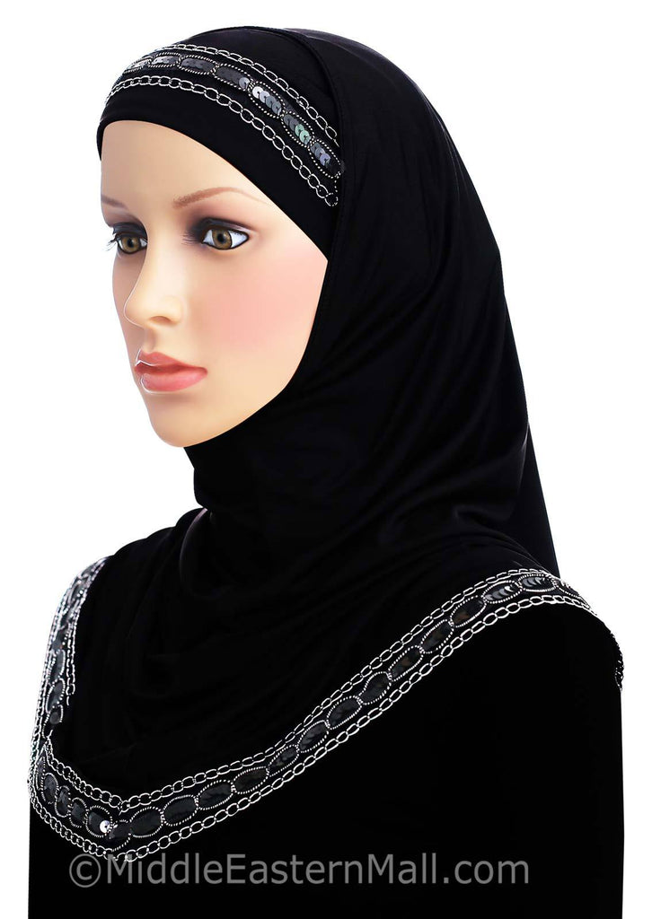 Khatib Luxor 2 piece Long Hijab in #8 Black