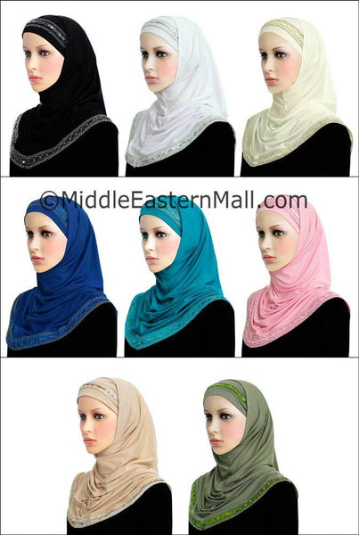 Wholesale Set of 8 Khatib Luxor 2 piece Long Hijab in 8 colors