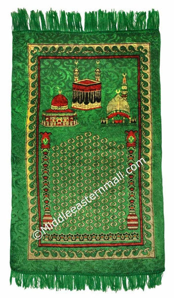holy sites prayer rug in green