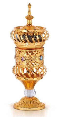 Sultan's Jewels Incense Holder Burner Goblet # 49 in Antique Gold - MiddleEasternMall - 1
