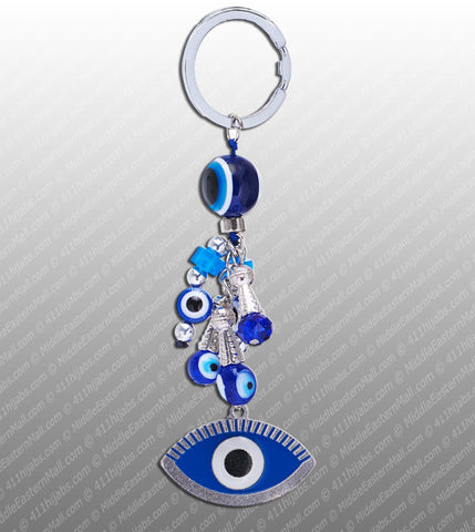 Turkish Evil Eye Keychain Silver with Blue Glass Beads #4 - MiddleEasternMall