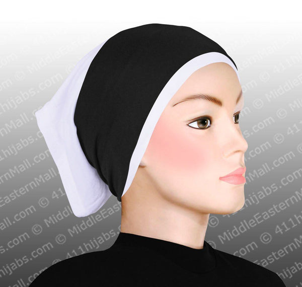 One dozen Classic poly headband in 6 White 6 Black cotton tube hijab cap not included
