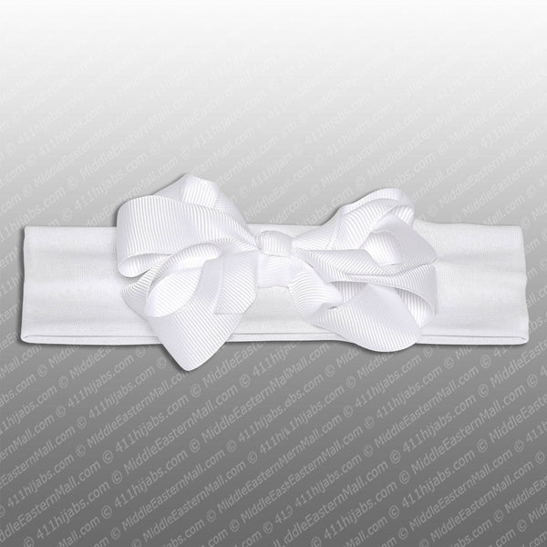 Polyester Headband with Grosgrain Ribbon Bow # 1 White - MiddleEasternMall