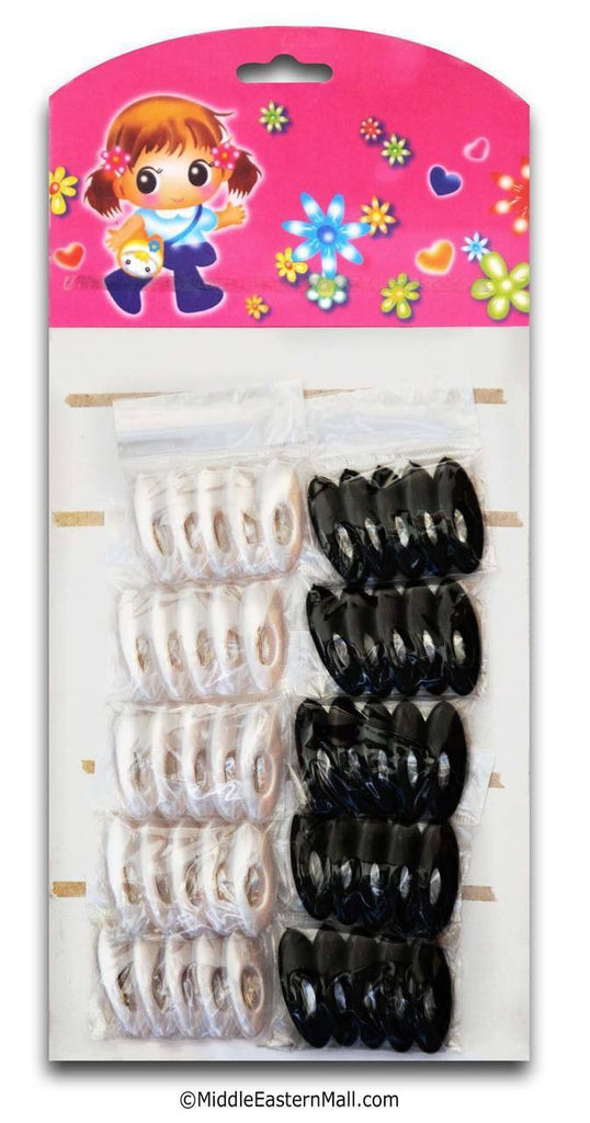 Wholesale Black & White Hijab Pins with Oval Opening 60 pins - MiddleEasternMall
