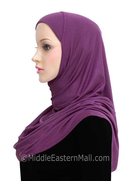 Purple Cotton 1 piece Amira Hijab