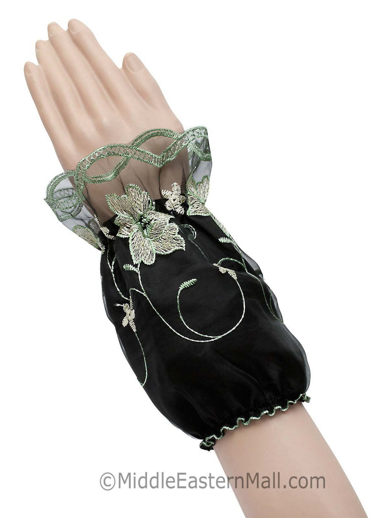 Arm Cuffs with Floral Embroidery in #1 Green