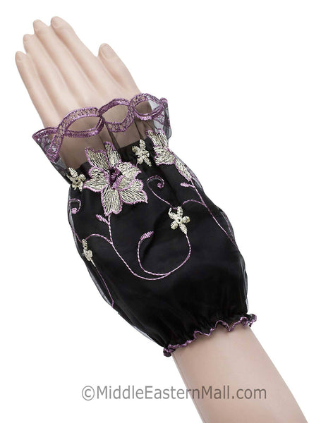 Arm Cuffs with Floral Embroidery in #2 Lilac