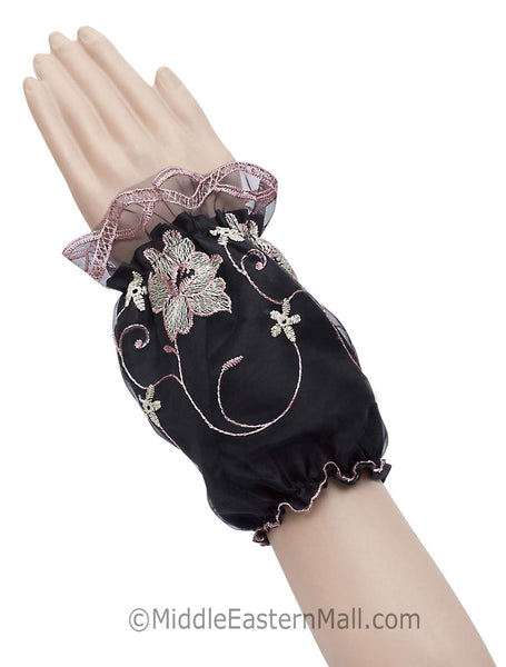 Arm Cuffs with Floral Embroidery in #3 Rose Pink