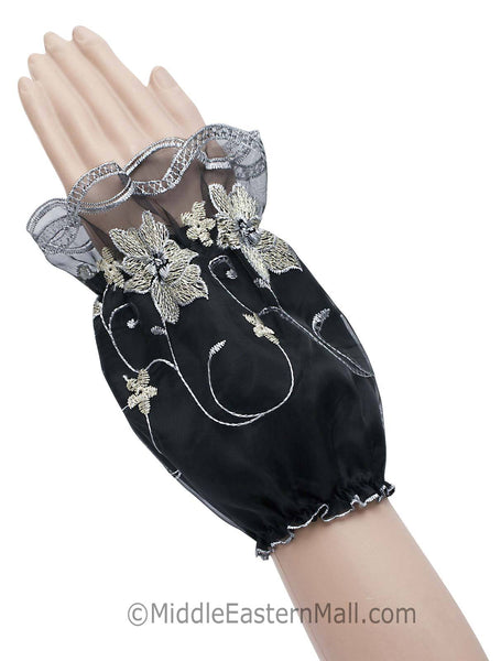 Arm Cuffs with Floral Embroidery in #4 Icy Gray