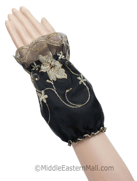 Arm Cuffs with Floral Embroidery in #5 Beige