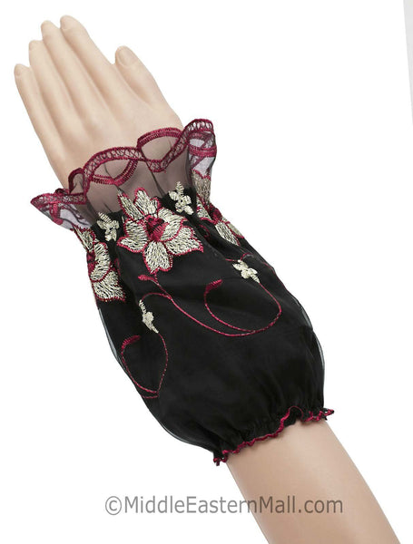 Arm Cuffs with Floral Embroidery in #6 Maroon