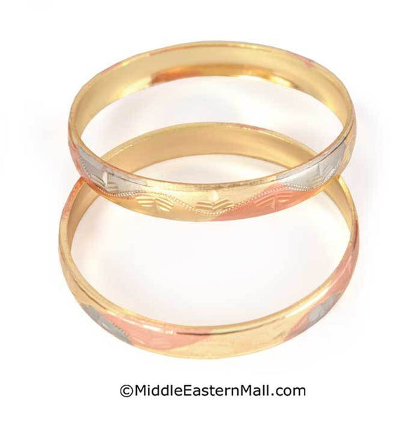 Little Girl's Bangle Bracelets Oro Laminado Set of 2 Tri-Color Gold Plated one year warranty
