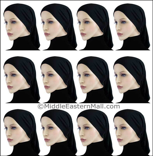 Wholesale 1 Dozen Highest Quality Extra Long Khatib Cotton All Black Hijab Tube Caps