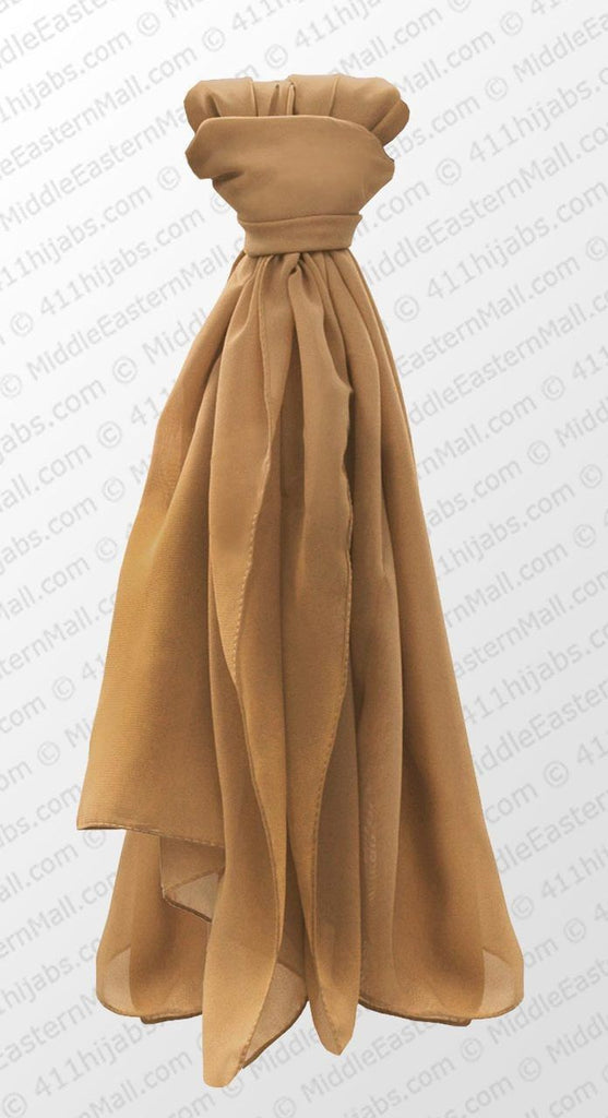 Chiffon Square Square Scarf in # 5 Tan - MiddleEasternMall