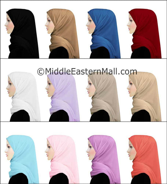 Wholesale 1 Dozen Salma Chiffon Square Scarf in 12 Colors