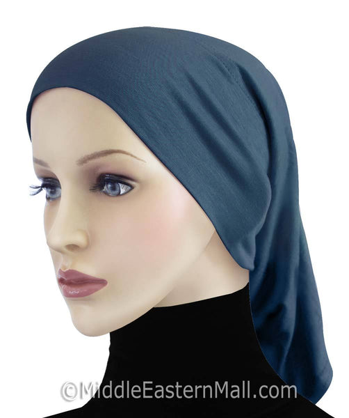 Slate Blue Cotton Black Hijab Tube Cap