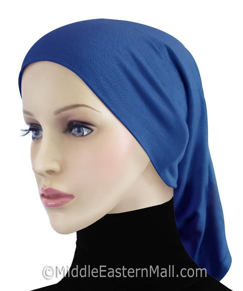 Royal Blue Cotton Black Hijab Tube Cap