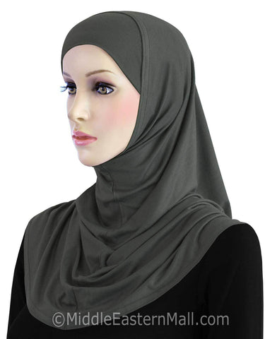 Khatib Cotton Amira Hijab 2 piece Standard Length in #12 Charcoal Gray