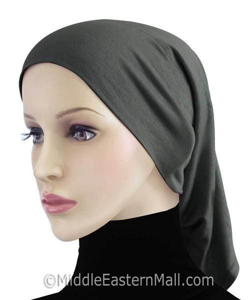 Charcoal Gray Extra Long Khatib Cotton Hijab Tube Cap