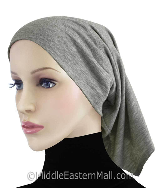Heather Gray Extra Long Khatib Cotton Hijab Tube Cap