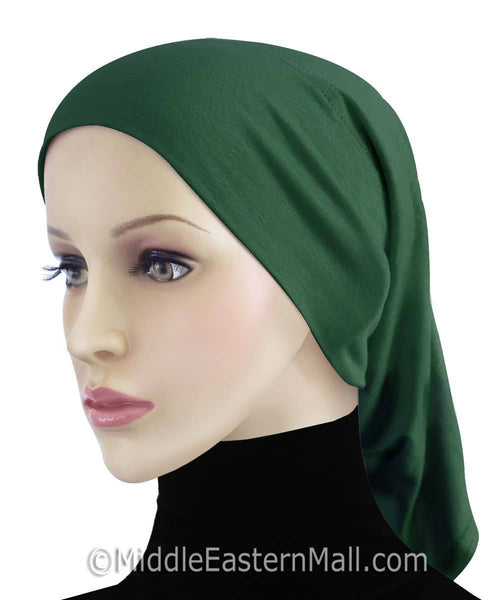Green Cotton Black Hijab Tube Cap