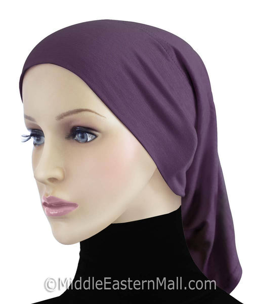 Purple Cotton Black Hijab Tube Cap